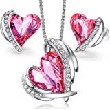 CDE Love Heart Necklaces and Earrings Jewelry Set for Women Rose Gold/Sliver Tone Crystals Birthstone Mother's Day Jewelry Gi