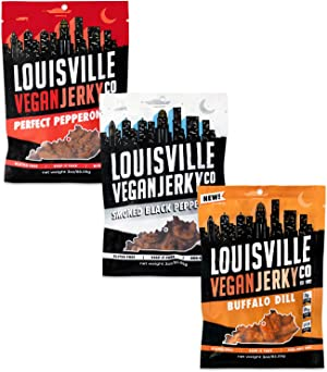 Louisville Vegan Jerky - Variety Pack, Vegetarian & Vegan-Friendly Jerky, 18-21 Grams of Protein, Includes Smoked Black Pepper, Perfect Pepperoni, & Buffalo Dill (3 oz, 3-Pack)