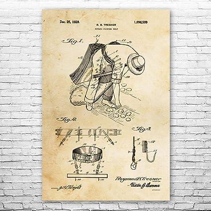 Potato Picking Belt Poster Print Farmer Gift Farmhouse Art Gardening Gifts