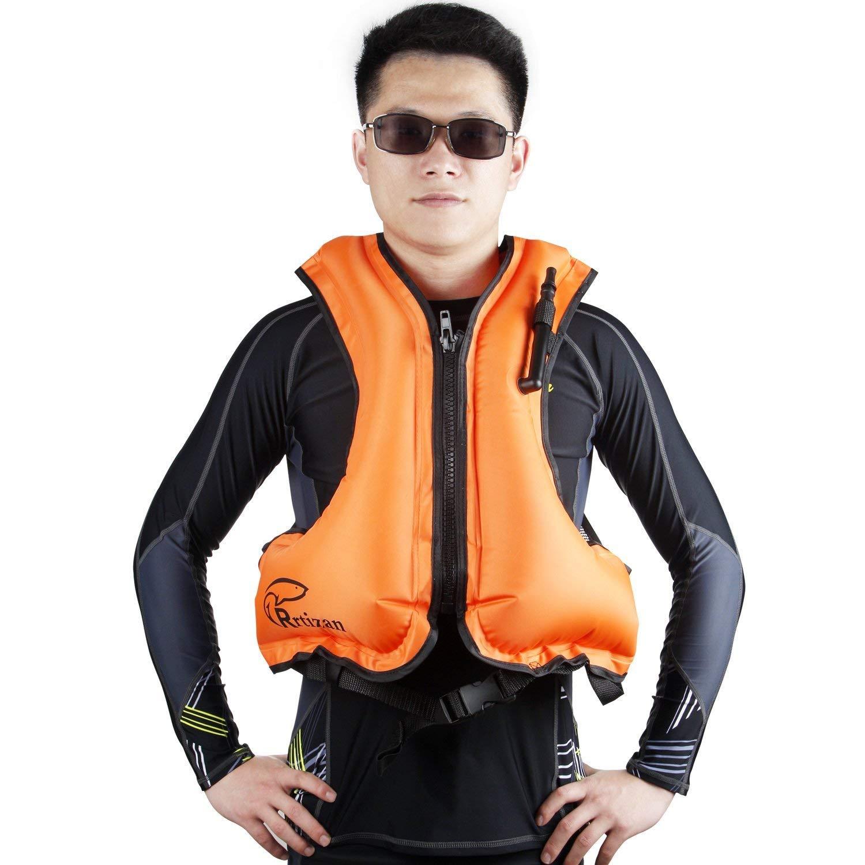Rrtizanライフジャケット 用 超浮力 ベストタイプ … インフレータブル 膨張式 シュノーケリング フローティングベスト 救命胴衣 大人用