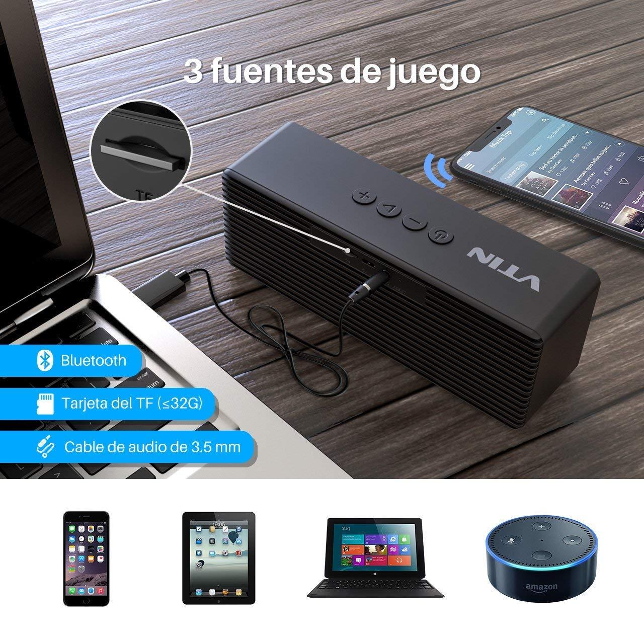 VTIN R1- Altavoz Bluetooth Portátiles, Bluetooth V4.2 con HiFi Audio y Bajos Mejorados, Llamadas Manos Libres, AUX-IN Puerto (el Jack 3,5mm), Sporte Tarjeta ...