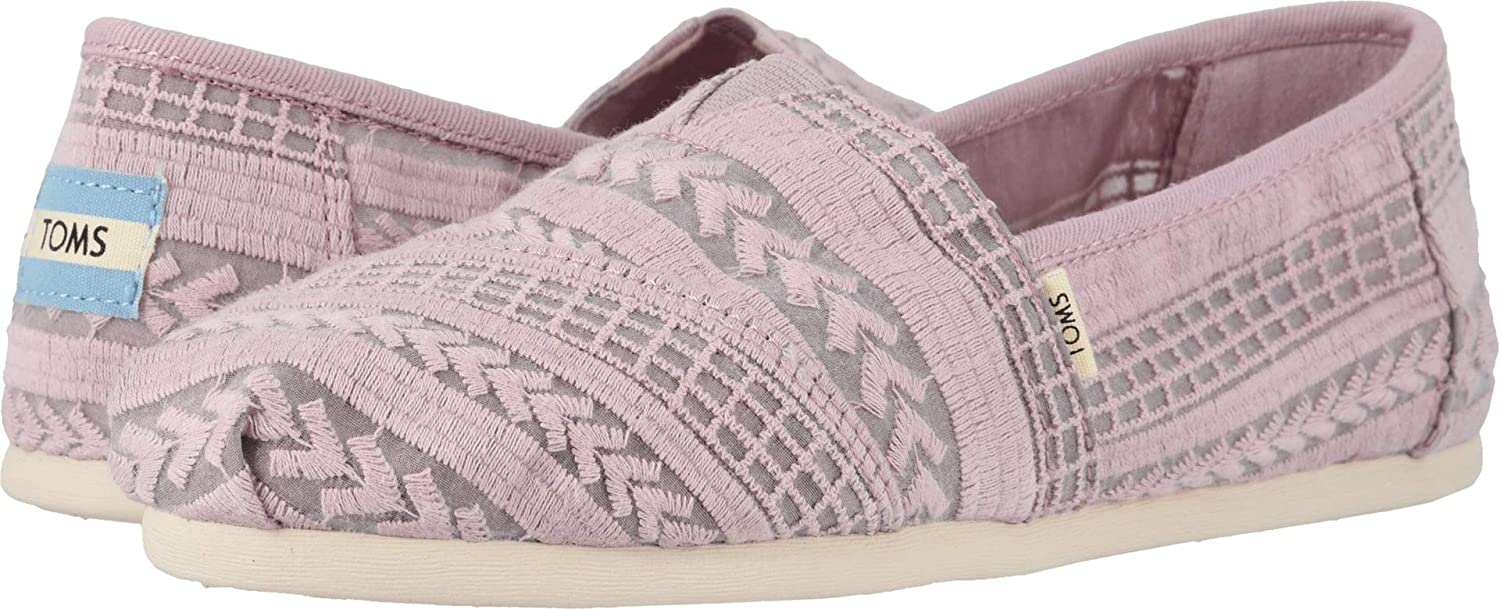 Amazon.com | TOMS Womens Alpargata Burnished Lilac Arrow Embroidered Mesh 5 | Platforms & Wedges