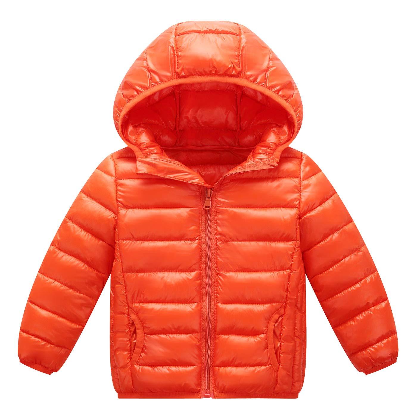 Happy Cherry Baby Boys Girls Down Coat Hooded Puffer Outwear Lightweight Winter Thick Coat Outerwear Orange
