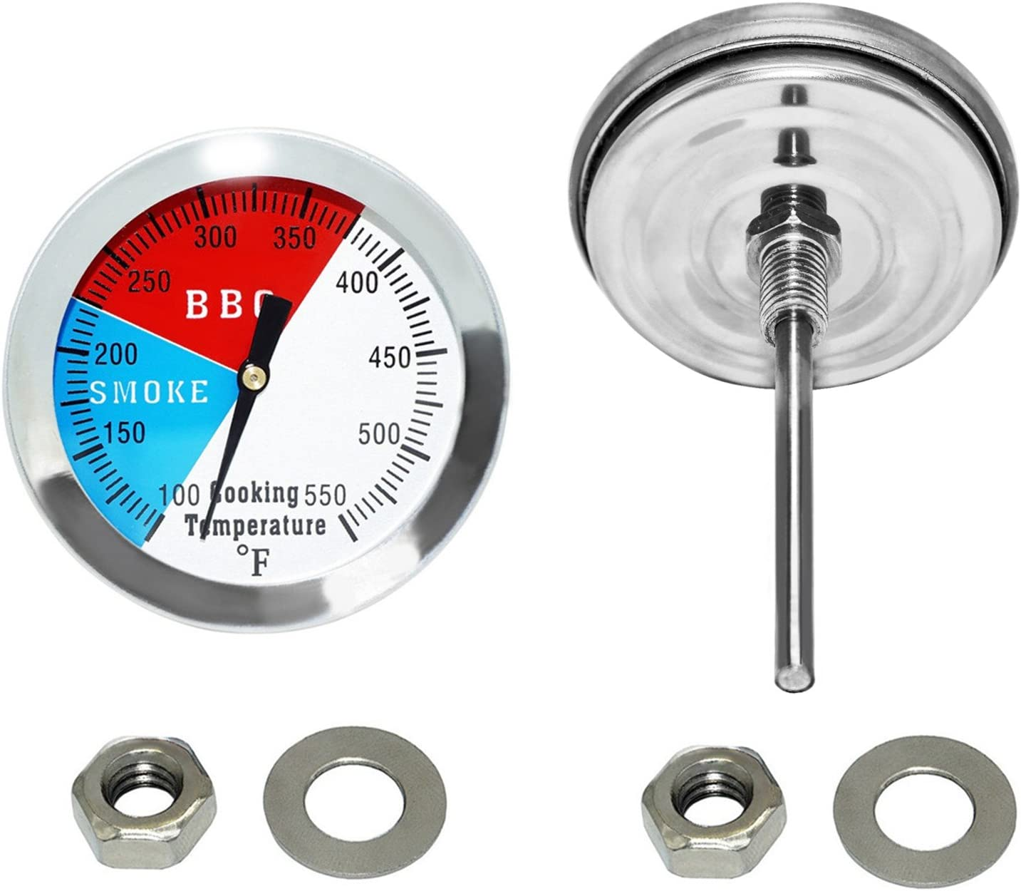 Stainless Steel Temp Gauge 2-Pack DOZYANT 2 Inch Barbecue Charcoal Grill Smoker Temperature Gauge Pit BBQ Thermometer Fahrenheit and Heat Indicator for Meat Cooking Port Lamb Beef