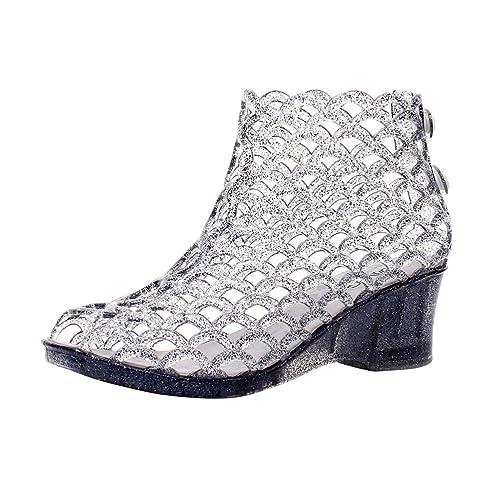 Omgard Womens Summer Heels Sandals Peep Toe Wedge Hollow Glitter Jelly  Shoes High Platform Black Size 904aaa907aab