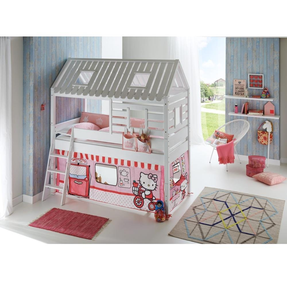 Spielbett Toms Hütte Relita Weiß mit Vorhang und Tasche Hello Kitty Grün Massivholz Holz Stoff