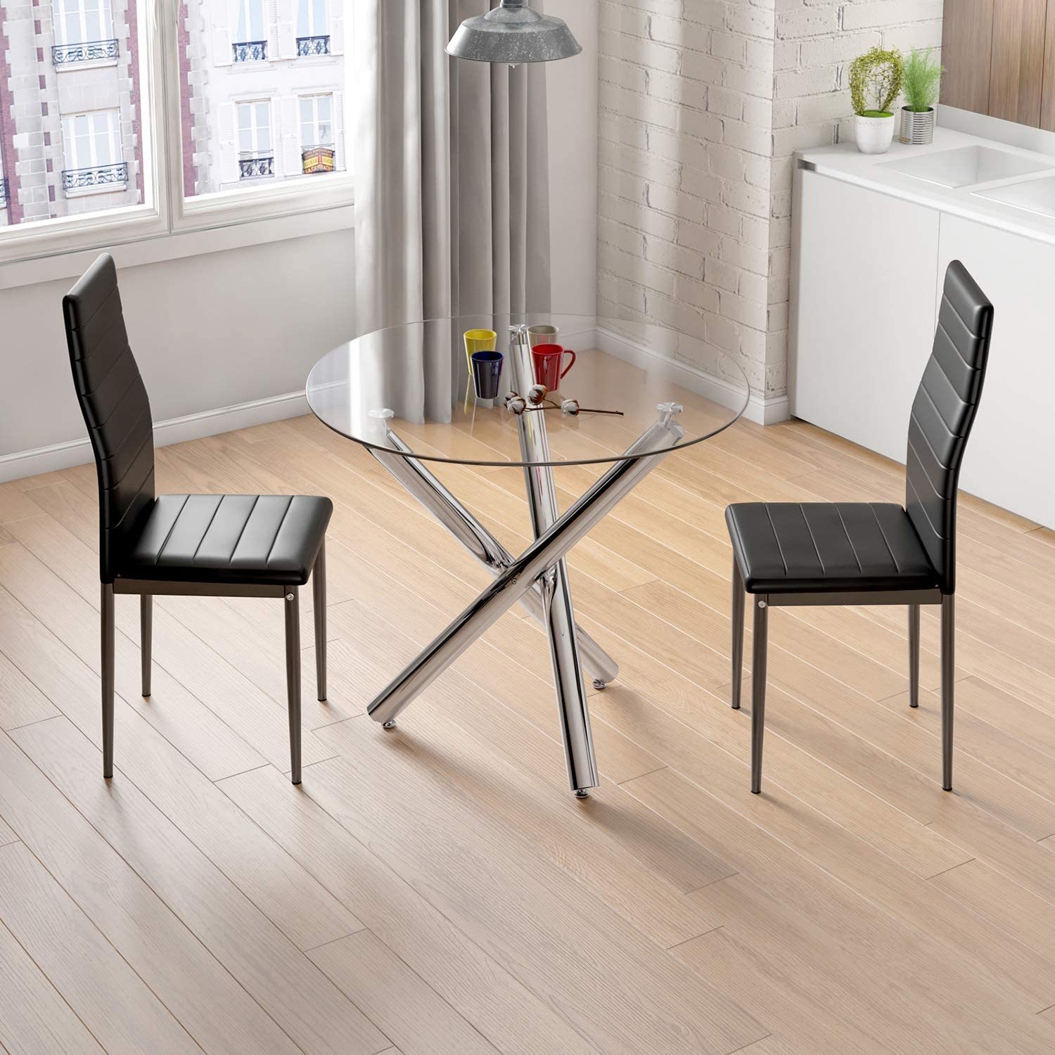 Jooli H Dining Set 2 Seater, Glass Dining Kitchen Table and 2 Faux PU Leather Chairs Modern Dining Room Furniture Set (Round Table+2*Black Chairs) Round Table+2*black Chairs