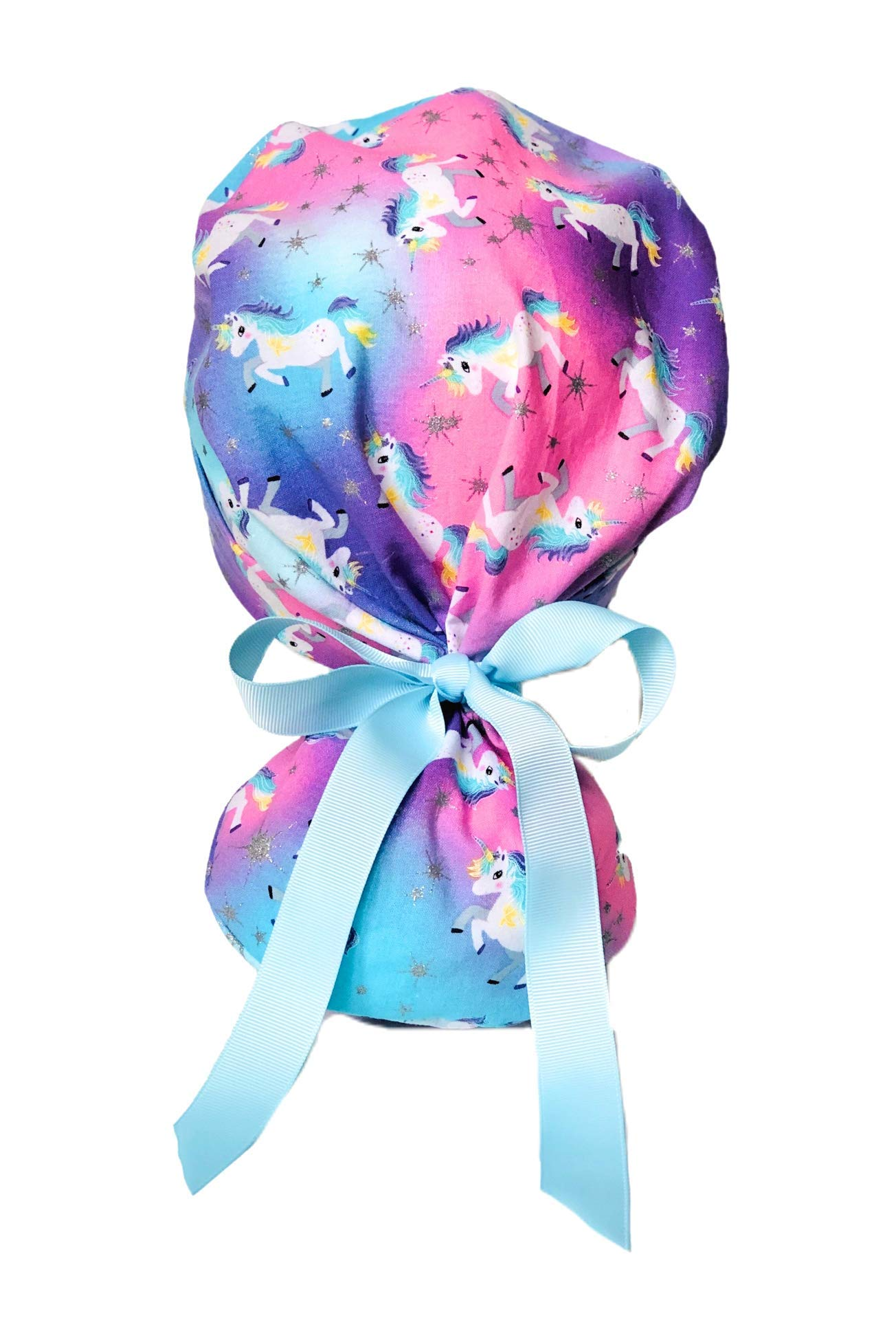Dreamy Unicorn Scrub Cap for Women with Baby Blue Ribbon by E.Y.I.P.