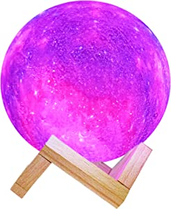Moon Light, 5.9 Inch 3D Printed Galaxy Moon Lamp 16 Colors Dimmable Rechargeable Night Lights Perfect Gifts for Family and Friends