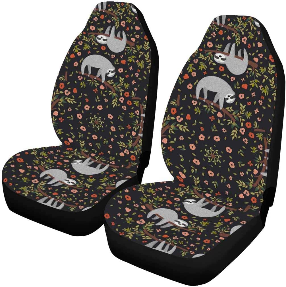 Interestprint Tropical Pattern With Cute Sloths Car Front Seat