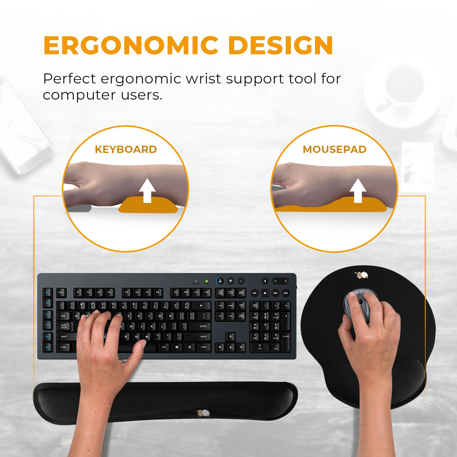 Provides Comfort and Support to Hands While Typing Made of Foam That Is Built to Last 3 Years Warranty by CushionCare Ergonomic Support CushionCare Keyboard Wrist Rest Pad Mouse Pad Included