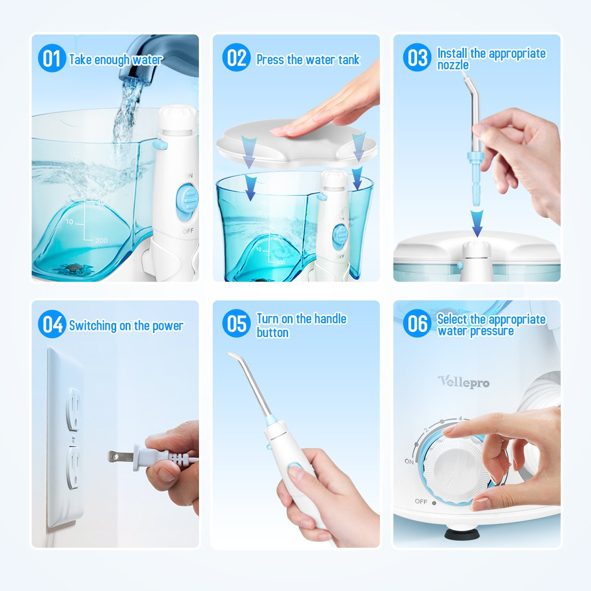 Vellepro Classic Pearly White Cordless Advanced Water Flosser for Teeth & Braces, Oral Care Irrigator with 8 Interchangeable Nozzles, 10 Pressure Settings, 600ml Capacity for People & Kids