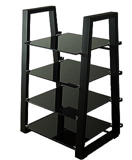 Hi-Fi Stereo Cabinet Walnut Dark Wood Open Shelf Cupboard 1 Drawer ...