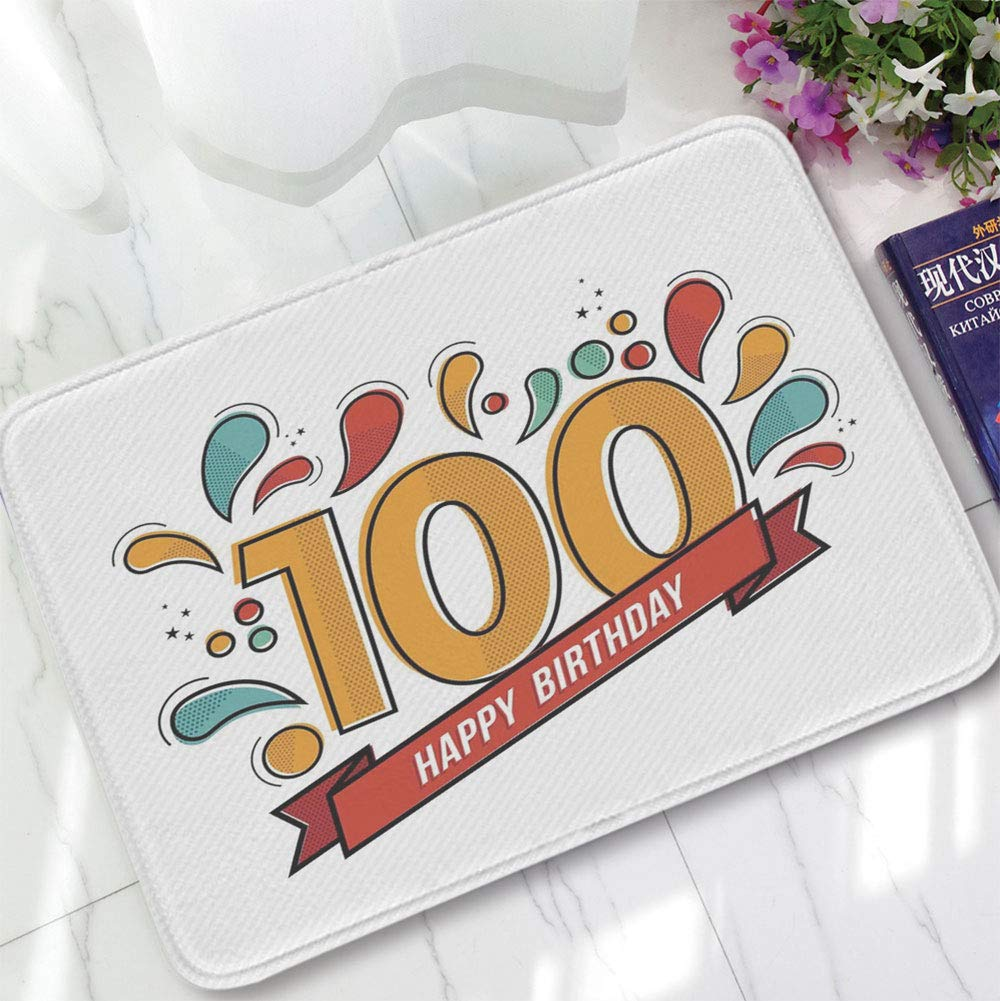YOLIYANA Ultra-Soft Mat,100th Birthday Decorations,for Kitchen Living Room,15.75''x23.62'',Grannies Lived for Centuries 100 Birthday