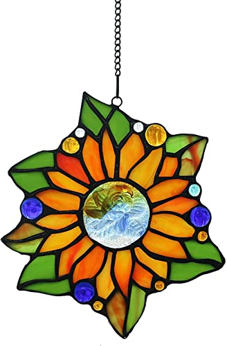 Alivagar Stained Glass Window Hangings Suncatchers Sunflower, 6 1 2 x 6