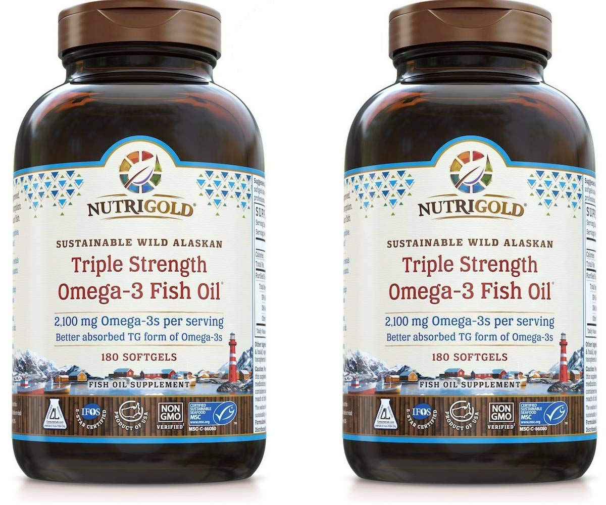 Nutrigold Wild Alaskan Triple Strength Omega-3 Fish Oil for Cardiovascular, Cognitive, Joint, Eye, Skin and Respiratory Health (180 Kosher/Halal Softgels) Pack of 2