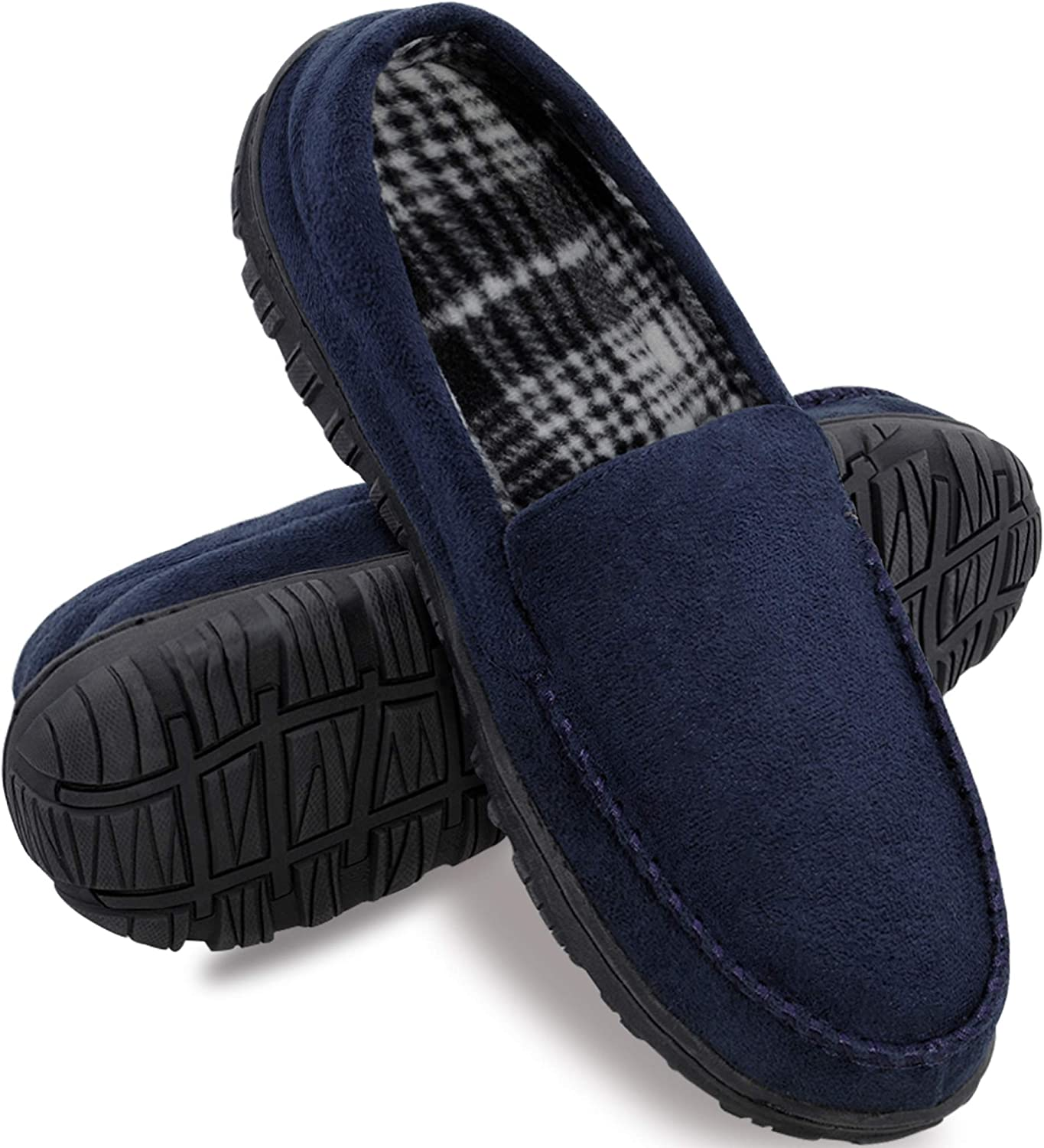 Amazon.com | festooning Mens Slippers Moccasin Slipper House Shoes for Men  with Anti-Skid Rubber Sole Indoor/Outdoor | Slippers