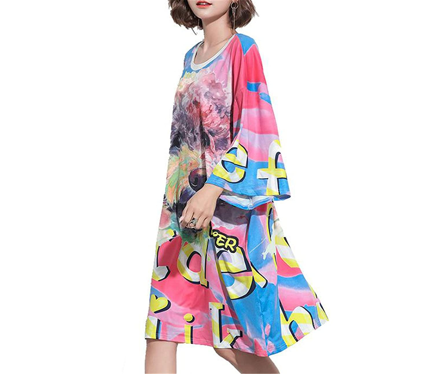 Chiffoned Plus Size Women 2018 Autumn Fashion Print Dress Casual Loose Female Shirt Dresses Tunics Long Tops 8839 L at Amazon Womens Clothing store: