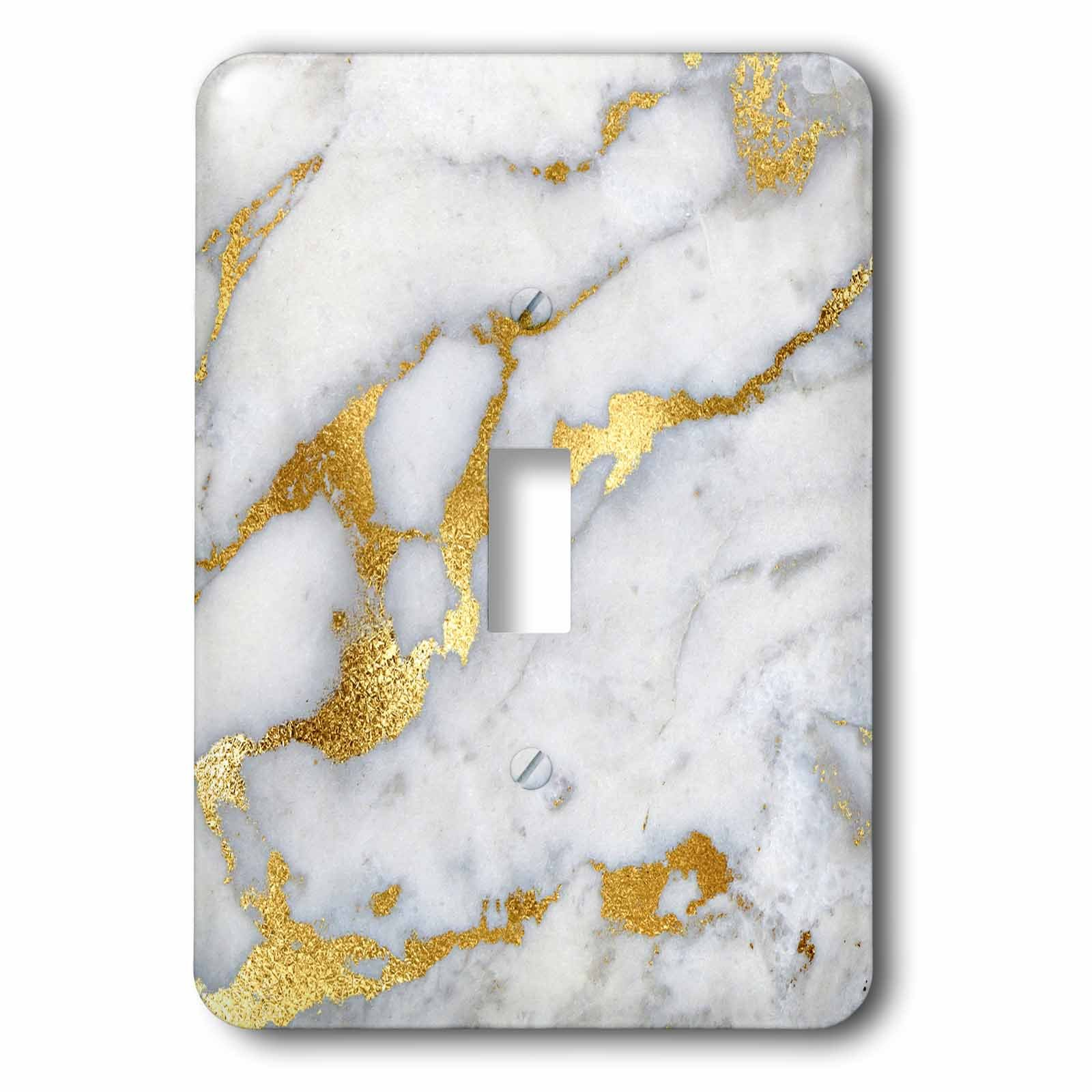 3dRose (lsp_268835_1) Single Toggle Switch (1) Luxury Grey Gold Gem Stone Marble Glitter Metallic Faux Print