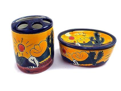 Juego de siesta: Original mexicano soporte con jabonera de cerámica. El soporte para cepillos