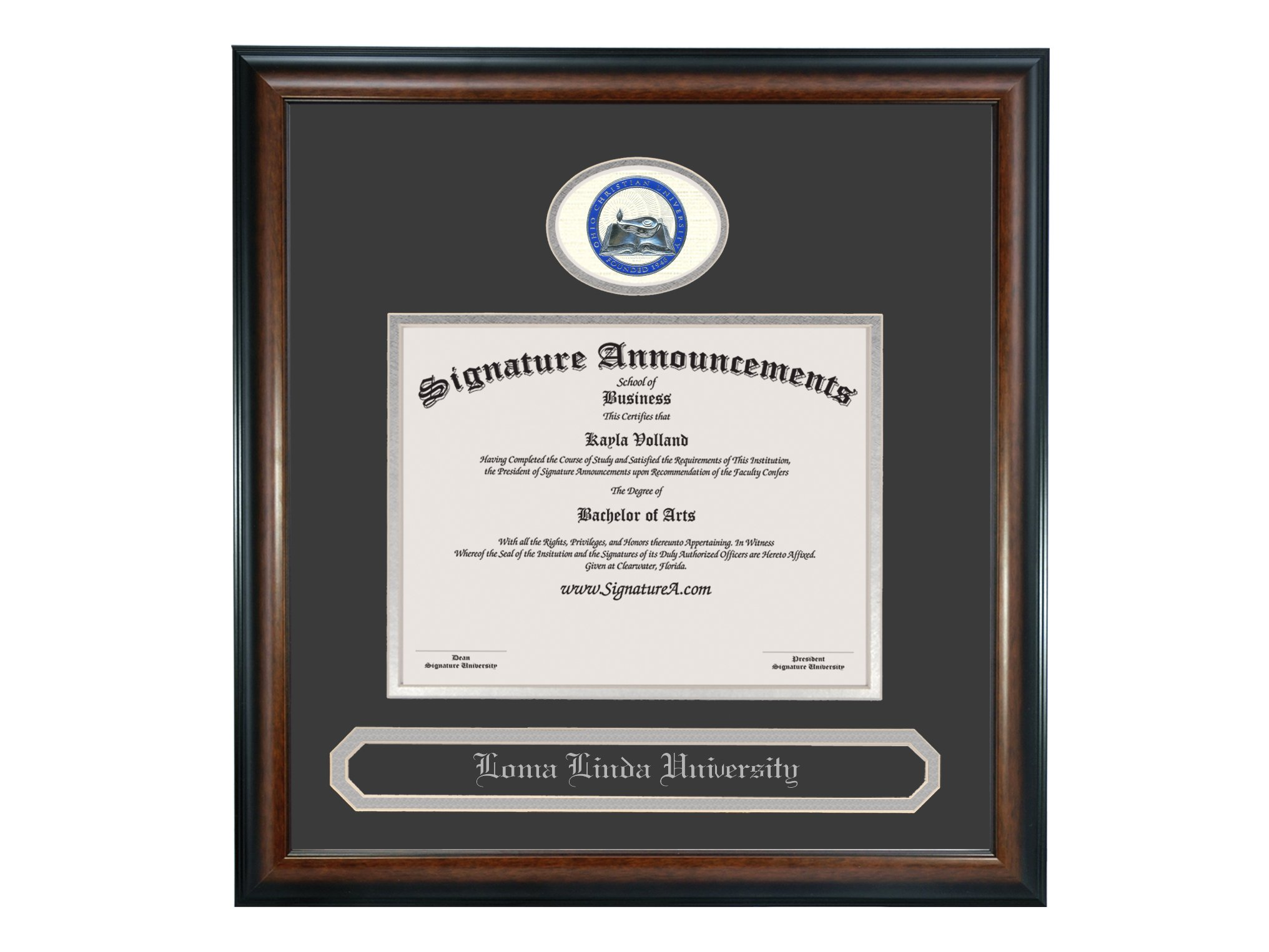 Signature Announcements Ohio-Christian-University Undergraduate, Graduate/Professional/Doctor Sculpted Foil Seal & Name Diploma Frame, 16'' x 16'', Matte Mahogany