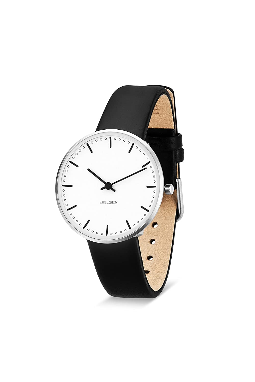 Arne Jacobsen 53201 Unisex-Quarz-Armbanduhr mit weißem analogen Zifferblatt - schwarzes Lederarmband