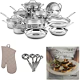 Cuisinart 77-17N 17 Piece Chef039;s Classic Set, Stainless Steel Includes Stainless Steel Measuring Spoon Set, Oven Mitt and Cookbook