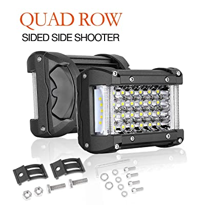 Side Shooter Led Pods,Auto Power Plus 2PCS 204W Quad Row Led Light Bar OSRAM Spot Beam Led Driving Fog Lights Waterproof Off Road Led Work Light Led Cubes for Truck Jeep ATV UTV Boat: Automotive