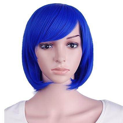 MapofBeauty 12 Pulgada/30cm Peluca de Flequillo Diagonal Recta Corta (Marino Azul)