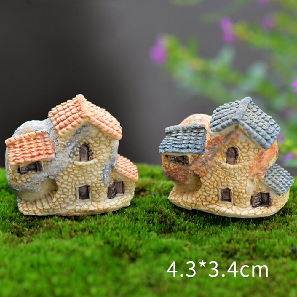 BESTIM INCUK Miniature Fairy Garden House Ornament Dollhouse Plant Pot Figurine DIY Outdoor Decor Home Decoration (Random Color)