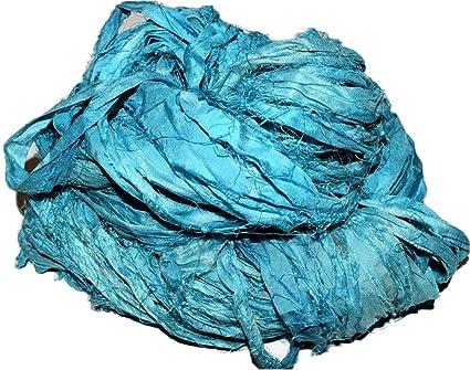 Amazon.com: sari de seda hilo cinta 100 g Tye Dye Amarillo ...