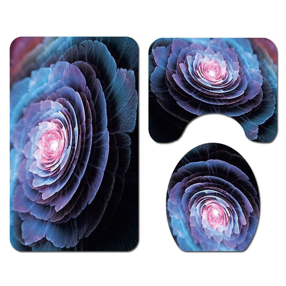 Cortina de Ducha Tapa de Inodoro Alfombrilla de ba/ño Estampado Floral Enhome Juego de 4 Piezas de Alfombra de ba/ño Antideslizante Azul