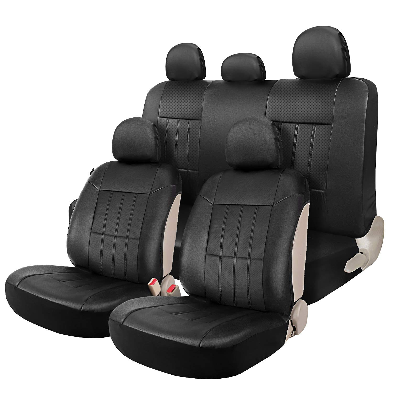 Genenal Faux Leather Black Auto Sideless Seat Covers Full Set Universal for Cars Truck SUV - Leader Accessories