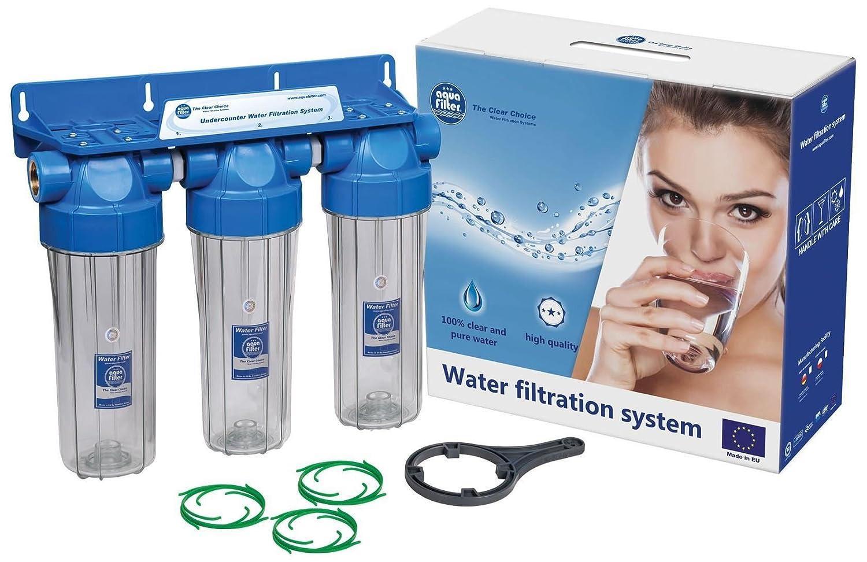 Boîtier de filtre triple 10 po Ensemble de filtration d'eau à deux étages