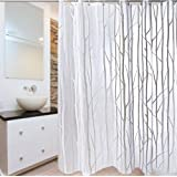"""PEVA Bathroom Shower Curtain, Uphome Birch forest Pattern - Waterproof and Mildewproof Durable Bath Curtain Liner Design (72""""W x 72""""H, Grey)"""