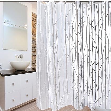 Amazon PEVA Bathroom Shower Curtain Uphome Birch Forest