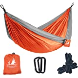 Beaublock Outdoor Ultralight Nylon Portable Hammock(Only 600g) | Double Multifunctional Lightweight Hammocks for Camping, Backpacking, Travel, Beach, Yard.(275 x 140cm, Supports Up To 300kg