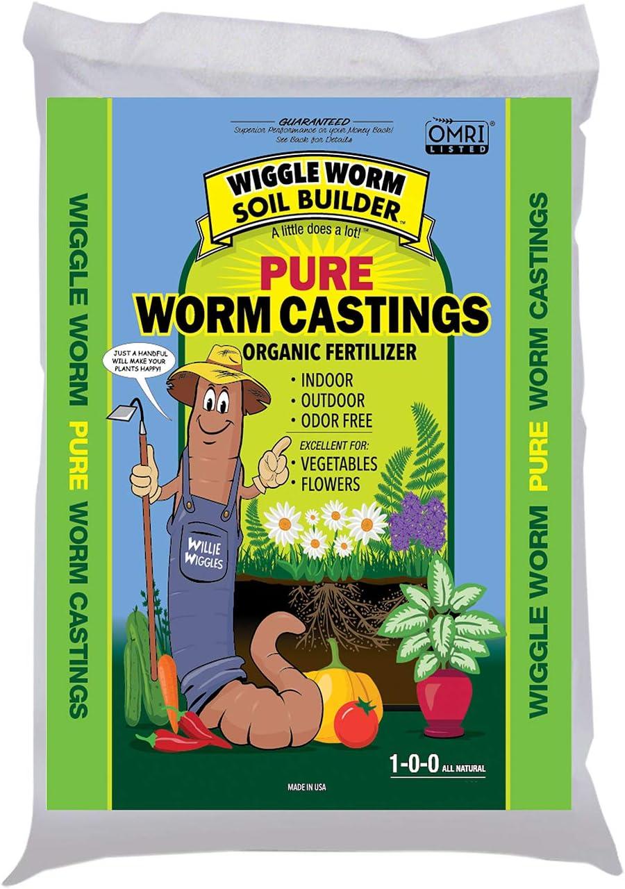 Worm Castings Organic Fertilizer, Wiggle Worm Soil Builder, 12-pounds