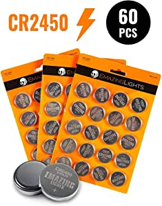 EmazingLights 60 Pack of CR2450 Batteries - 3V Lithium Coin Button Cell 600 mAh (Silver, 60 Pack)