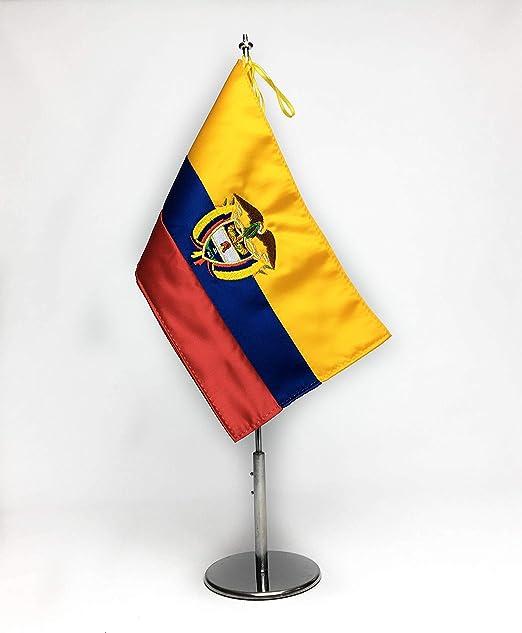 ABBE Global Bandera de Mesa Bordada de Ecuador 15x25 y mástil ...