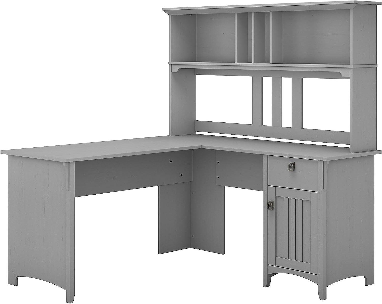 Amazon Com Bush Furniture Salinas 60w L Shaped Desk With Hutch In Cape Cod Gray Furniture Decor