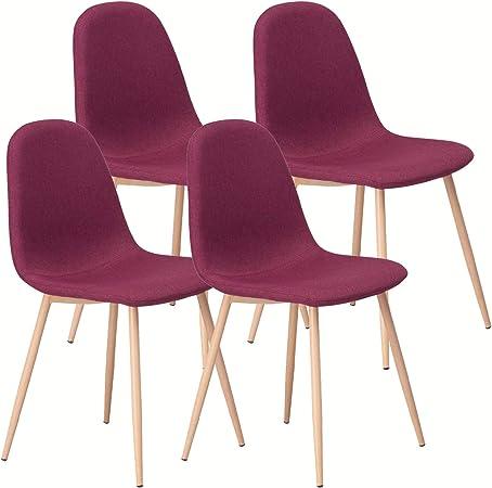 Sedie da Pranzo Set di 4,Comode Sedie in Stile Moderno per Cucina,Sala da Pranzo,Camera da Letto,Soggiorno (Rosso Scuro)
