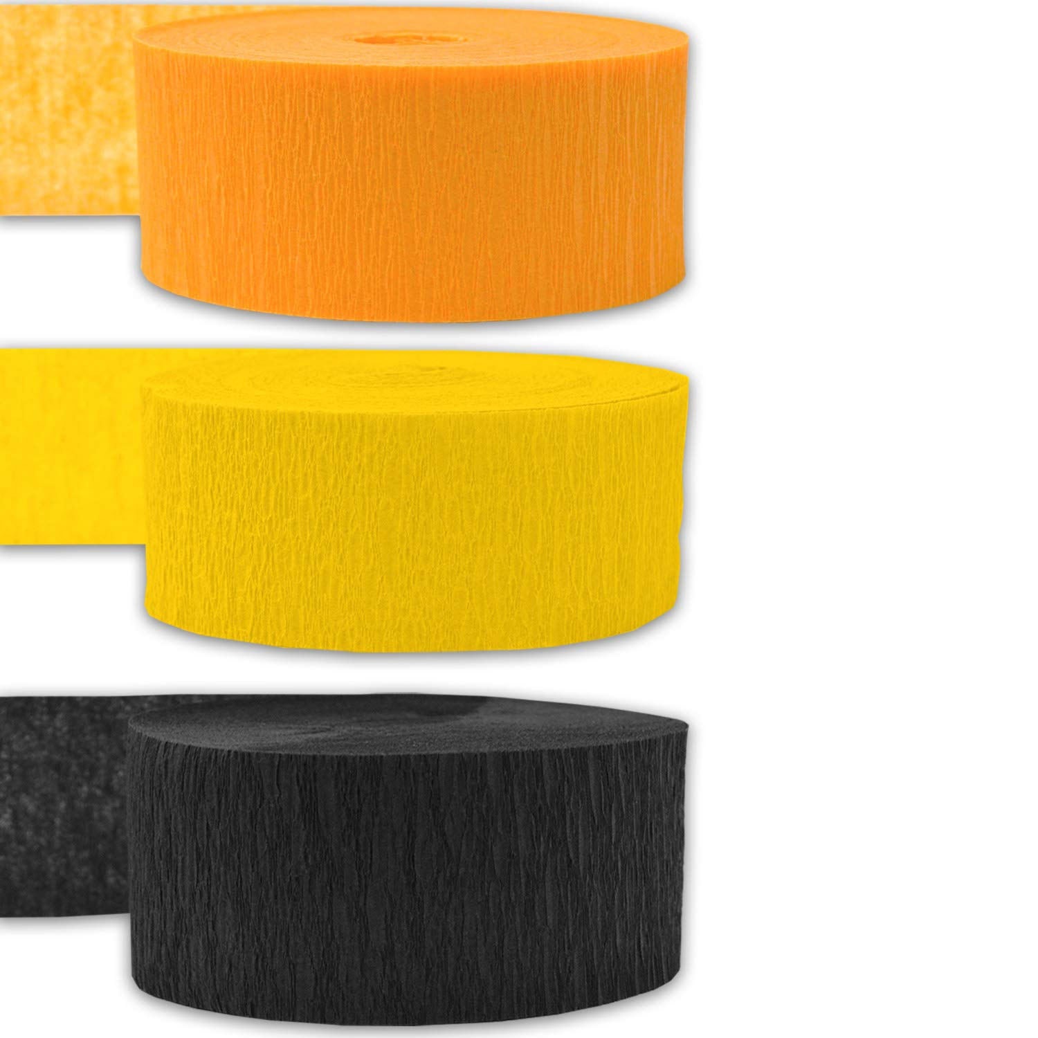 Bleed Resistant - For party Decorations and Crafts 9 rolls Flame Resistant Classic Yellow 243 per color 3 Colors 739 ft Crepe Party Streamers Made in USA Golden Yellow Black 3 rolls per color, 81 foot each roll