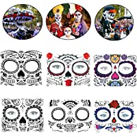 COKOHAPPY Day of the Dead Sugar Skull Rose Floral Skeleton Temporary Face Tattoo Kit - Pack of 6 Kits