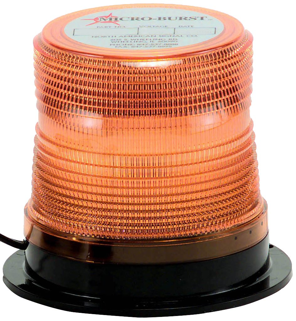 North American Signal LEDQ375-A Class 1 LED Beacon with Permanent Mount, 12/24V, Amber by North American Signal