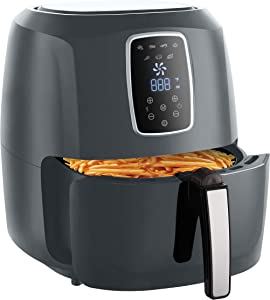 Emerald Gray Air Fryer 5.2 Liter Capacity w/Digital LED Touch Display & Slide out Pan/Detachable Basket 1800 Watts (1813)