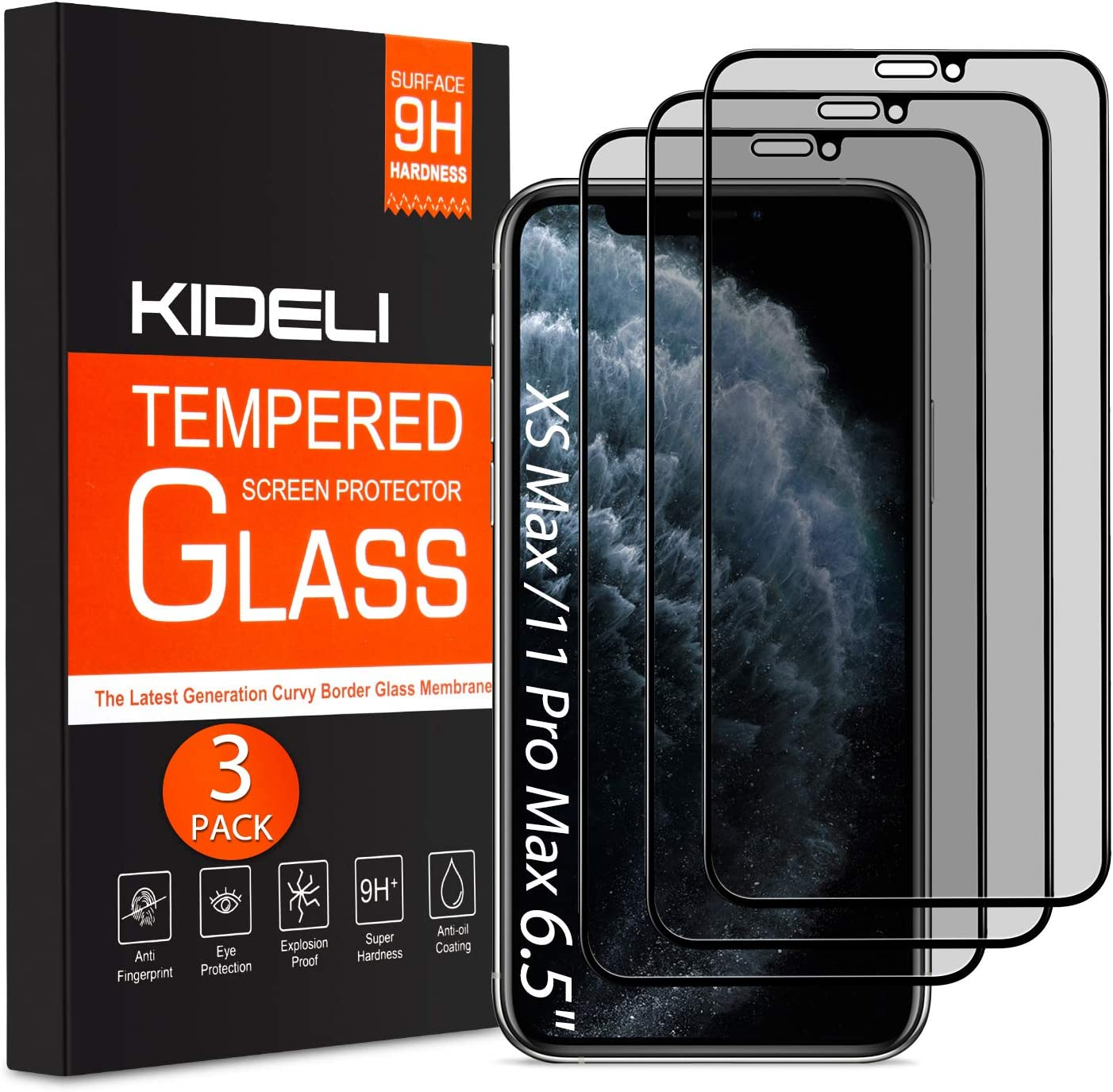 KIDELI Privacy Screen Protector Compatible with iPhone 11 Pro Max/iPhone XS Max 6.5 Inch 3 Pack Full Coverage Anti-Spy Tempered Glass Film Anti-Scratch Case Friendly