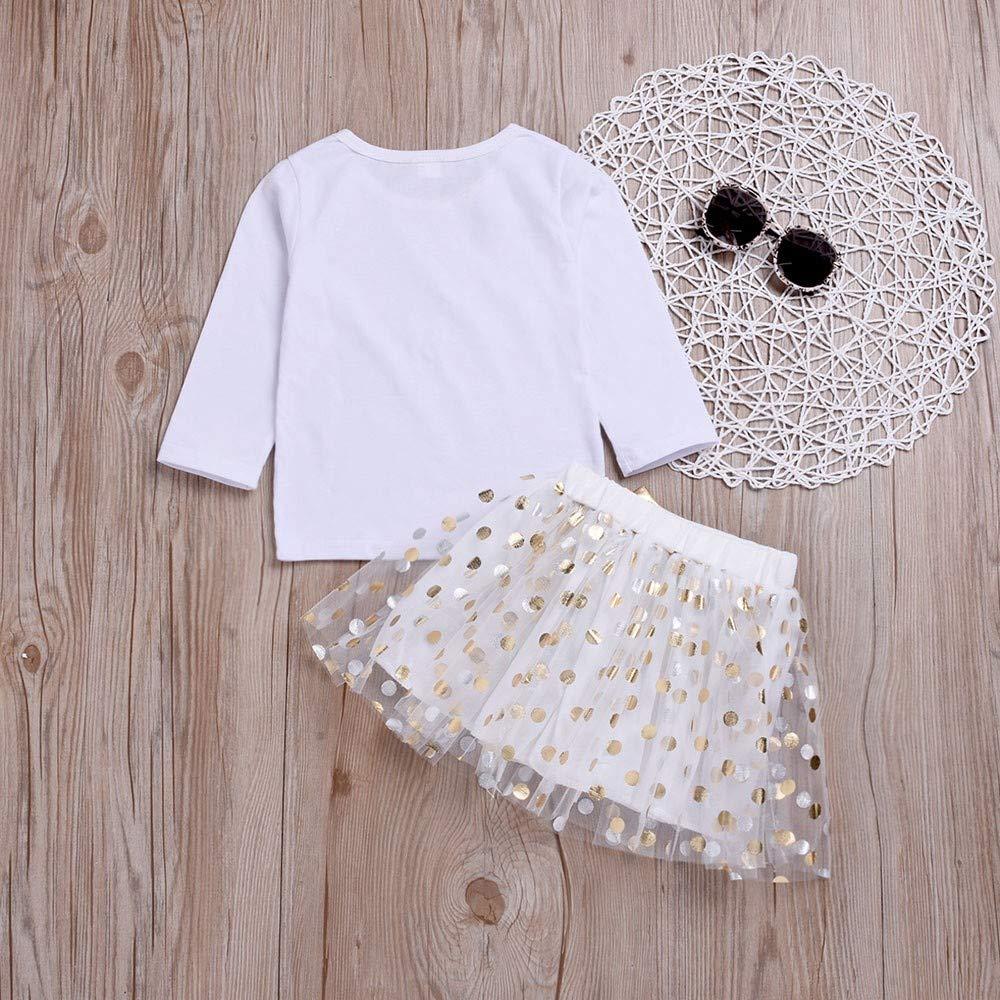 XUANOU Children Girls Letter Gold Powder Top T-Shirt Bright Wave Point Bow Mesh Skirt Kid Dot Print Bowknot Tutu Set