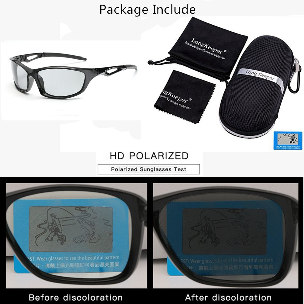 1d6ce14c8e2b Amazon.com  Photochromic Sunglasses Men Women HD Polarized Sports Cycling  Glasses By Long Keeper (Bright Grey)  Clothing