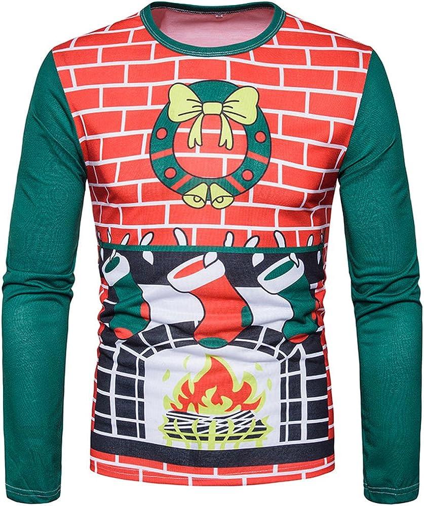 Qingsiy Camiseta para Hombre Otoño Invierno Disfraz Navidad Estampado navideño Casual Cuello Redondo Camiseta de Manga Larga Fiesta Humor Camiseta Top Regular Fit Blusa: Amazon.es: Ropa y accesorios
